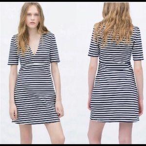👗 Zara TRF Striped Bodycon Dress
